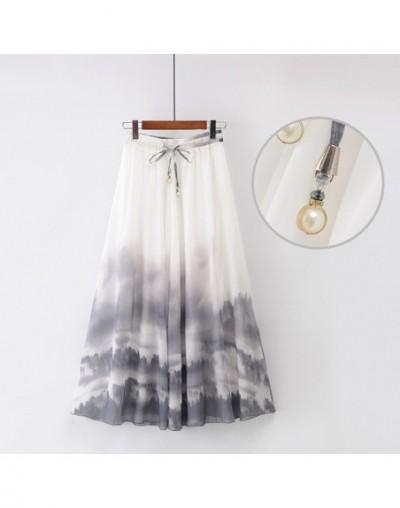 2019 New National Style Women's Elastic Waist Peacock Feathers Floral Chiffon Skirt Big Skirt Pleated Skirt Long Skirt - Ora...