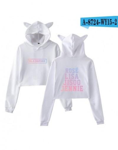 Kpop Blackpink Kawaii Cat Ear Sweatshirt Women Team Member Name Printed Hoodies Blackpink Fans Sexy Navel Crop Tops - White ...