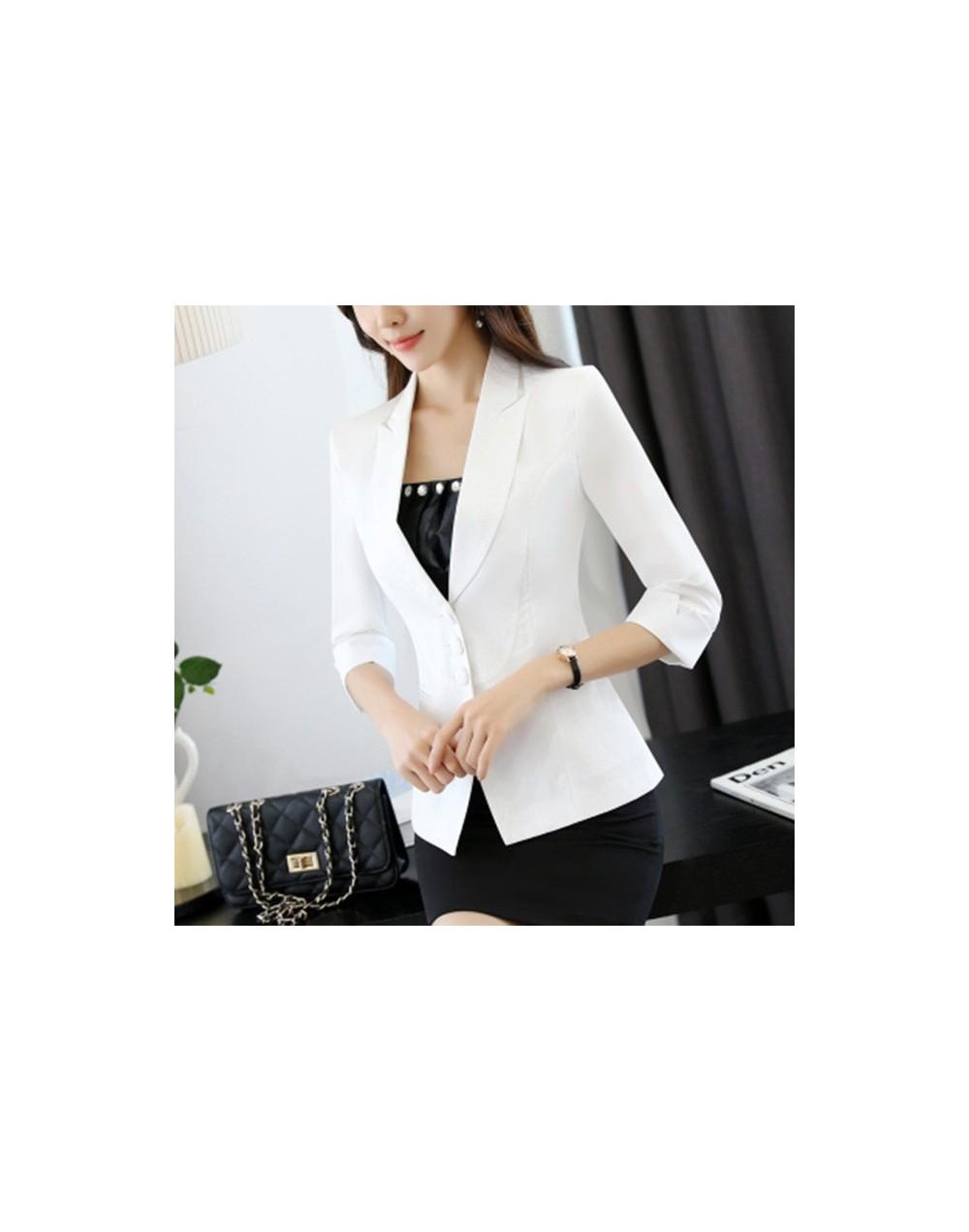 Blazer Women Black White Long Sleeve Blazers Single-Breasted Small Suit Jacket Coat Women Office Ladies Jacket Female Tops C...