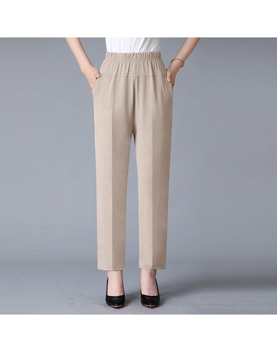 Middle-age Elastic High Waister Straight Pants Women Summer Thin Loose Trousers 2019 Casual Ankle-length bottoms plus Size 5...