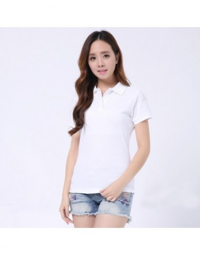 Women Summer Short Sleeve Polo Shirt Cotton Solid Color POLO Turn -down Collar Button Soft Casual Sport Work Office Lady Top...