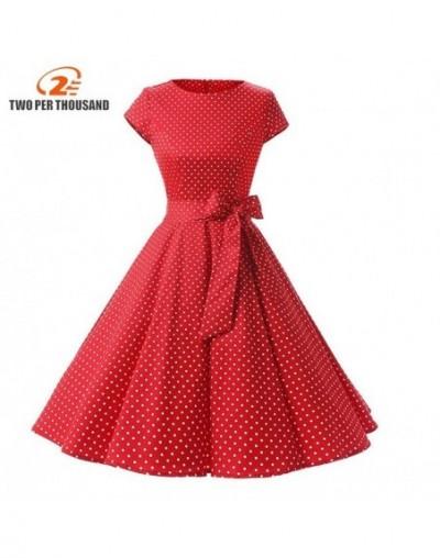 Women New 50s Retro Vintage Dress Polka Dots Short Sleeve Summer Dress Rockabilly Swing Party Dress - Red - 493978418970-3