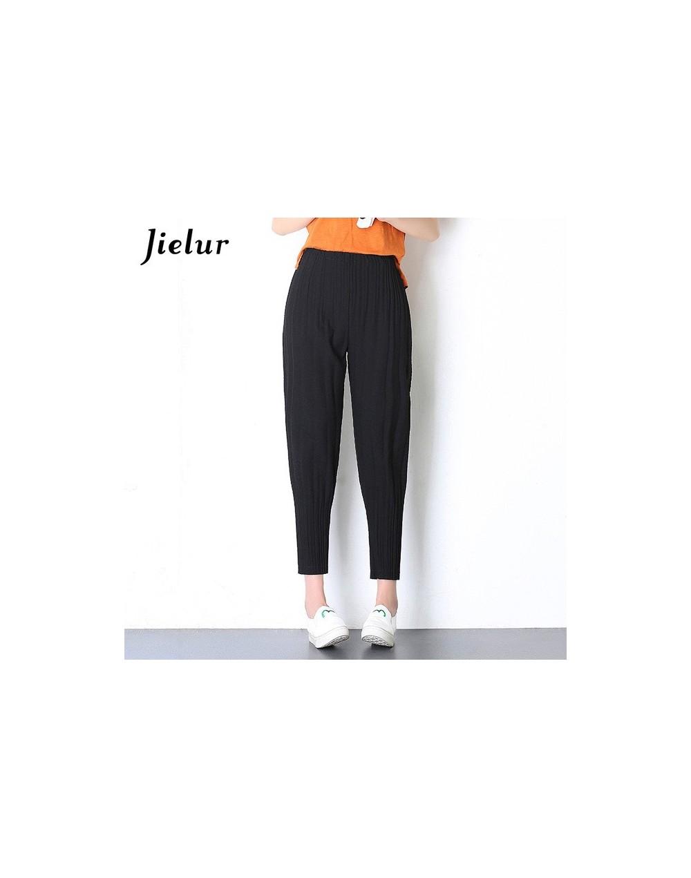 Autumn New Chiffon Harajuku Casual Women Pants Pleated Harem Pant Elastic High Waist Streetwear Trousers Lantern Trousers - ...