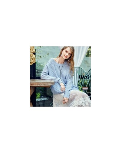 2018 Autumn and Winter New Women Solid Light Blue Hollow Pullovers Loose Long Sleeve O-neck Knitted Sweater YB10989Q - Sky B...