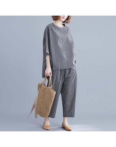2019 Summer 2 Piece Set Women Simple Comfortable Loose Cotton And Linen Plaid O-neck Tops Elastic Waist pant Women Set - Bla...