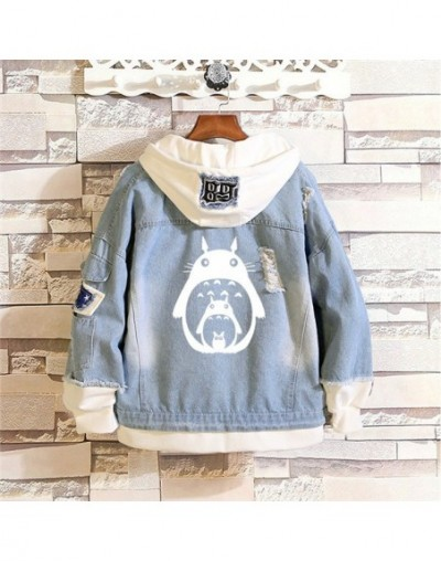 Anime Totoro Print Women Pocket Sweatshirt Spring kawaii Hoodie Holes Harajuku Denim Jacket Cartoon Hooded Long Sleeve Coats...