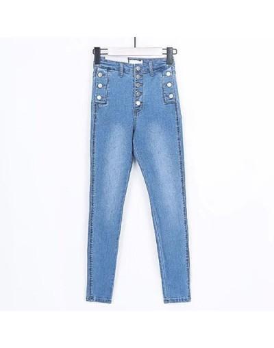 Stretch Vintage Jeans Woman High Waist Pant Classic Women Gray Denim Pants Button Skinny Black Ladies Jeans Woman New - Ligh...