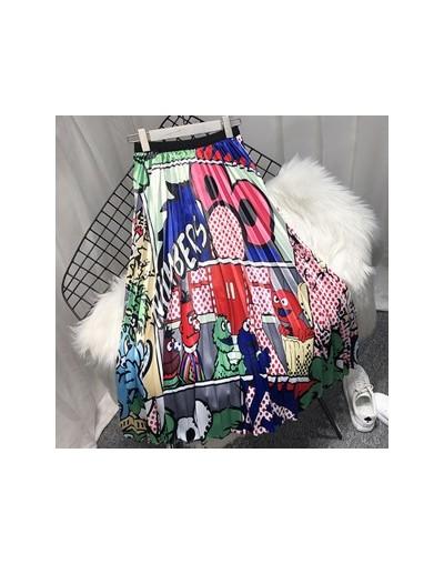2019 Spring New Fashion Europen Cartoon Print Elasticity Stain Pleated skirt High Street Style A-line Mid-Calf Skirt Femile ...