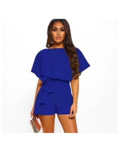 Summer Playsuit Women Fashion Belted Elegant Office Overalls Beach Romper Casual Loose O Neck Short Sleeve Jumpsuit Plus Siz...