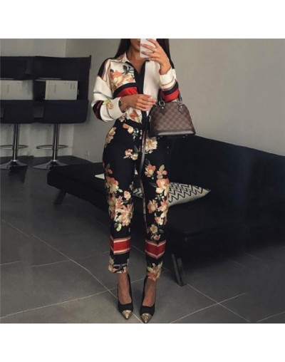 Turn down collar jumpsuits women Floral printed long sleeve jumpsuits romper Vintage spring long pants jumpsuit Plunging ove...