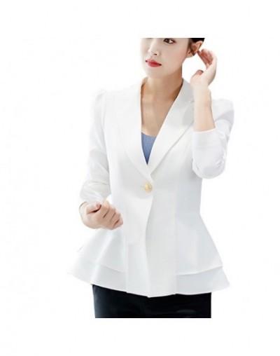 Women Blazers jackets Lapel Ruffles Suits Slim Office Lady Fashion Elegant 2019 Long Sleeve Plus Size blazer feminino longo ...