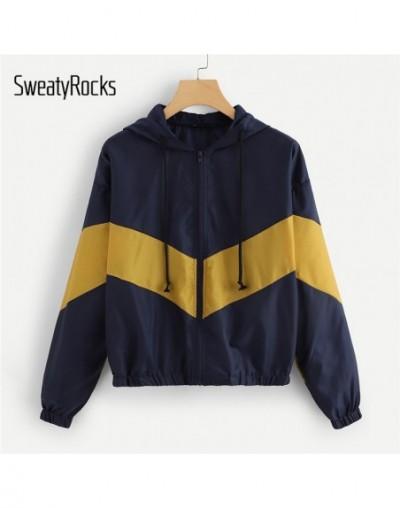 Navy Colorblock Zip Up Hooded Windbreaker Jacket Long Sleeve Women Outerwear 2018 Autumn Athleisure Hoodie Jacket - - 4F306...