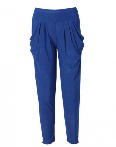 Candy Color Ladies Fashion Slim Casual Harem Baggy Dance Sweat Pants Trousers - Blue - 473978290591-2