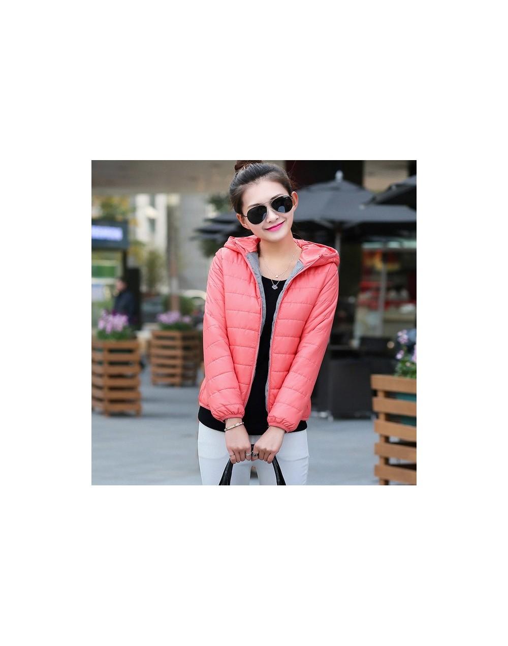 women ultra light down jacket 2017 New hooded winter High Quality jackets women slim long sleeve parka zipper coats - Pink -...