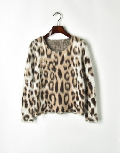 Sexy leopard knitted o neck pullover sweater female Autumn long sleeve women jumper Casual Mohair sweater streetwear - Khaki...