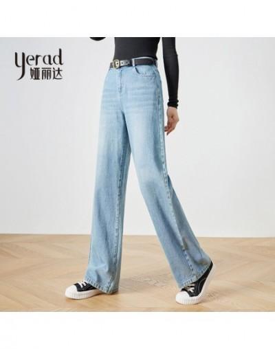 Women Wide Leg Loose Light Blue Jeans Denim Long Trousers High Waist Chic Pants - - 50111181878708