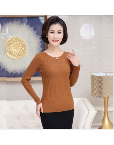 2018 Autumn New Middle-Aged Women Solid Color Pullover Sweater O- Neck Long Sleeve Slim Elasticity Mother Kniting Top T241 -...