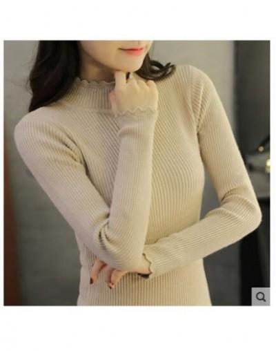 2018 new spring Sweater female lace collar blouse pullover Half turtleneck female thick long sleeved shirt Korean - khaki - ...