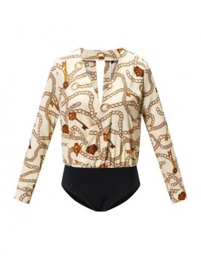 Vintage Silk Rompers Womens Jumpsuit Long Sleeve Chain Print Top Shirt Ladies Deep V Neck Key Printed Sexy Satin Bodysuits -...