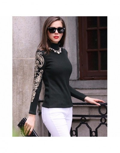 Women turtleneck sweater Casual autumn winter women slim warm knitted pullovers female Lace Embroidery Plus size - Black - 4...