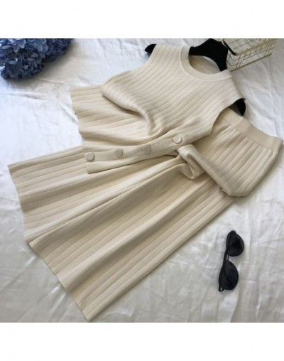 2019 Summer Women Sleeveless Side Button Knitted Vest + Fashion Broad-legged Trousers 2pcs Casual Knit Pants Sets - Beige - ...