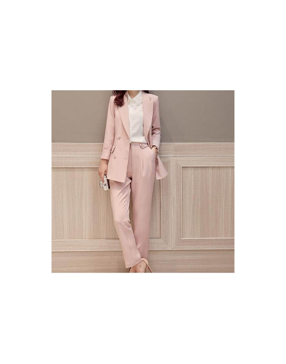 2019 Pink Double Breasted Women's Fashion Business 2 Pieces Suits Women Slim Fit Custom Made Suits Garnitur Damski Jacket+Pa...