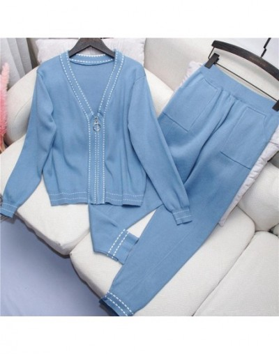 Women Casual Tracksuit Knitted Coat and Long Pants Suit 2019 Autumn New V-collar Zipper Up Cardigans +Trousers 2pcs Set Fema...