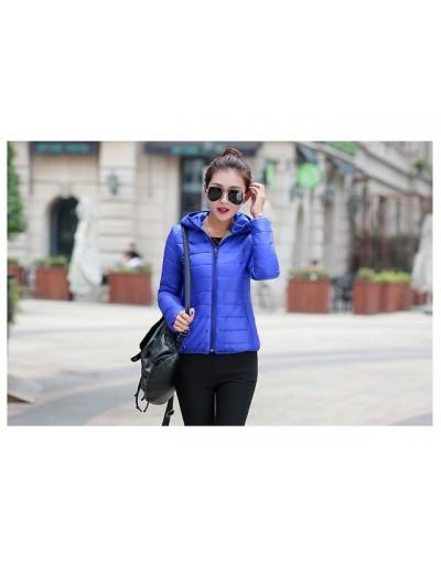 women ultra light down jacket 2017 New hooded winter High Quality jackets women slim long sleeve parka zipper coats - Blue -...