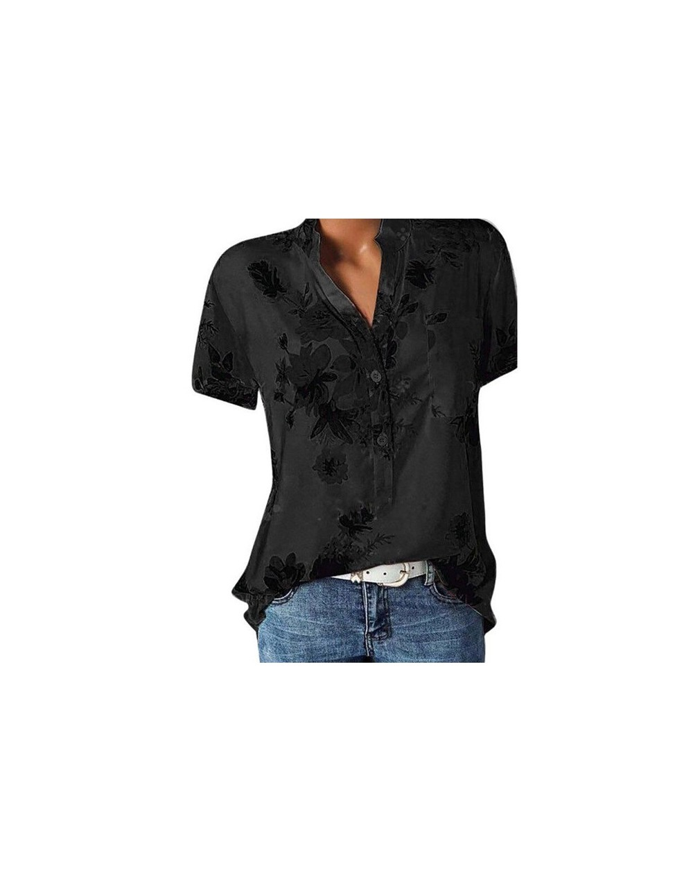 Elegant women's shirt printing large size casual shirt fashion V-neck short-sleeved shirt blouse - Black - 494157720312-1