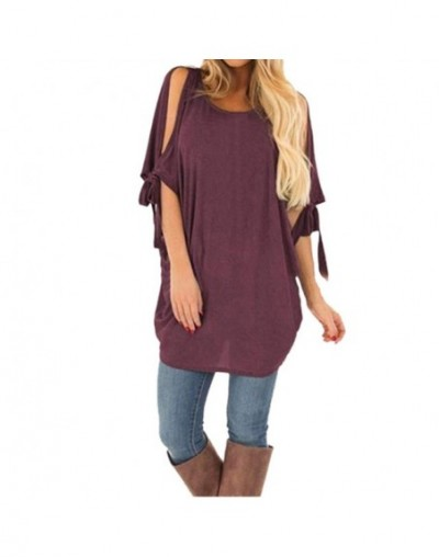 Lightweight Tunic Blouse For Womens Casual Solid Bare Arms Short Sleeve Loose Tops Summer chemisier femme In 2019 - Red - 4I...