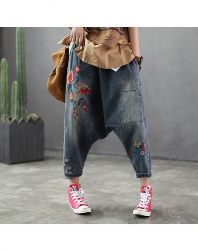 female early spring elastic waist baggy pant WOMEN nine minutes embroidery jeans haroun pants GIRL crotch trousers - Blue - ...