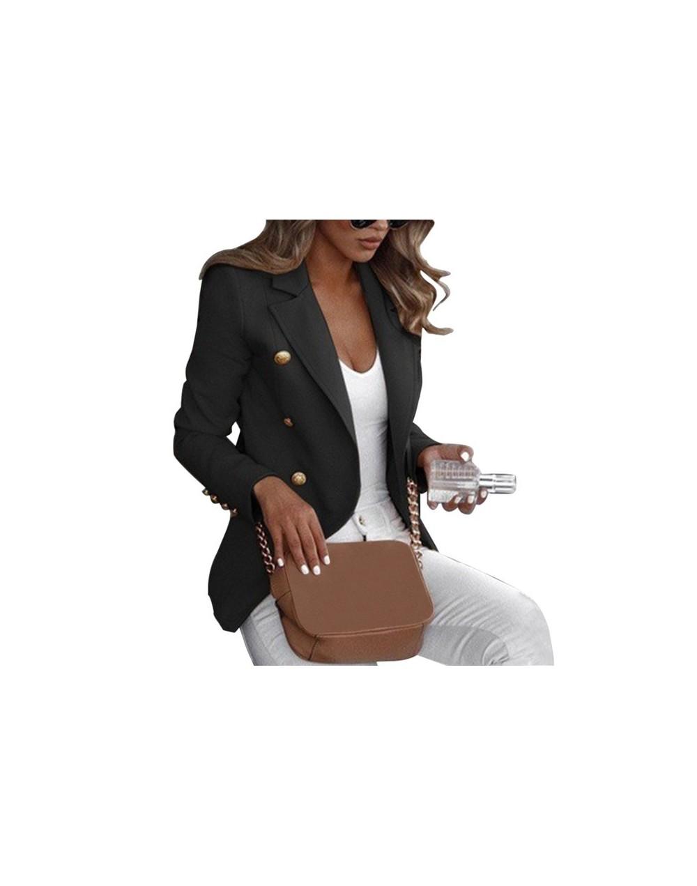 Blazers Women 2019 Fashion Spring Autumn Casual Jacket Female Office Lady Slim Suit Button Business Notched Blazer Coat - bl...