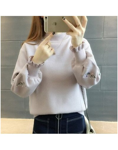 2018 Autumn Winter Warm Beautiful Embroidery Turtleneck Sweater Women Long Sleeve Knit Pullover Sweater NS3995 - pink - 4L30...