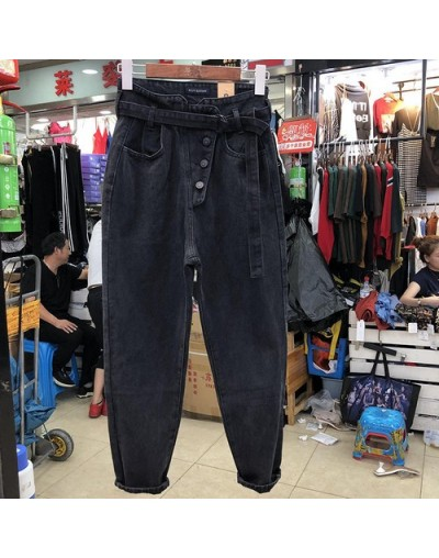 New Spring and Autumn Women Clothes Big Size High Waist Black Jeans Pants Bf Loose Radish Denim Trousers - Black - 5X1111835...