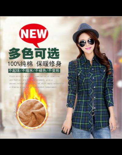 Women Winter Velvet Thick Keep Warm Plaid Cotton Blouse Long Sleeve Turn-down Collar Pocket 2018 Women Casual Tops Shirts Bl...