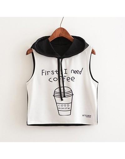 Summer Fashion Sleeveless Short Hoodies Women European Style Coffee Letter Print Streetwear Pullovers Harajuku Girl Tanks Te...