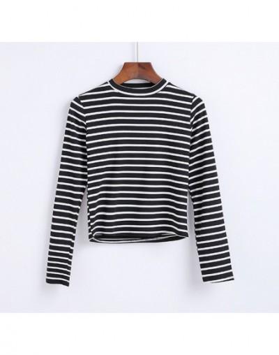 Women High Neck Striped Crop Top With Long Sleeve Classic Stripe Crop T-shirts - stripe black - 413935755566-3