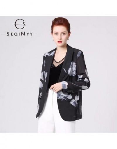 Black Blazer 2020 Summer Spring New Fashion Design Long Sleeve Ink Flowers Printed Translucent Short Jacket - 50111157231228