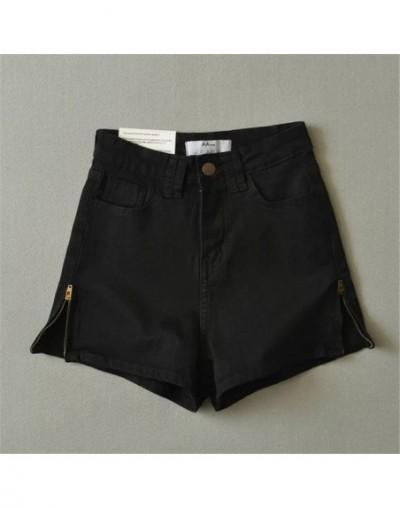 High Waist Denim Shorts for Women Sexy Leg side zipper Slim Stretch Shorts Jeans Women Shorts Black white Hot Shorts - black...