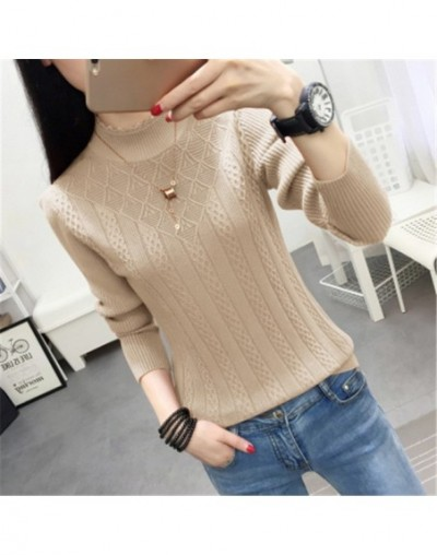 Winter Sweater Women 2018 New Fashion Half-Turtleneck Knitted Pullover Slim Large Size Knit Bottom Shirt Women Clothing PZ86...