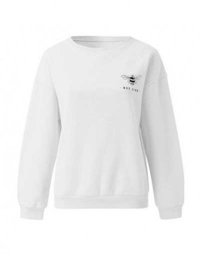 women t shirt autumn and winter long sleeves Women's Autumn Fashion Sweatshirts Bee Kind Letter Print Casual Loose - White -...