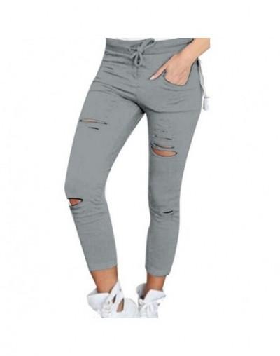 Women Leggings Holes Pencil Stretch Casual Denim Skinny Ripped Pants High Waist Jeans Trousers Fashion Pants - Gray - 403991...