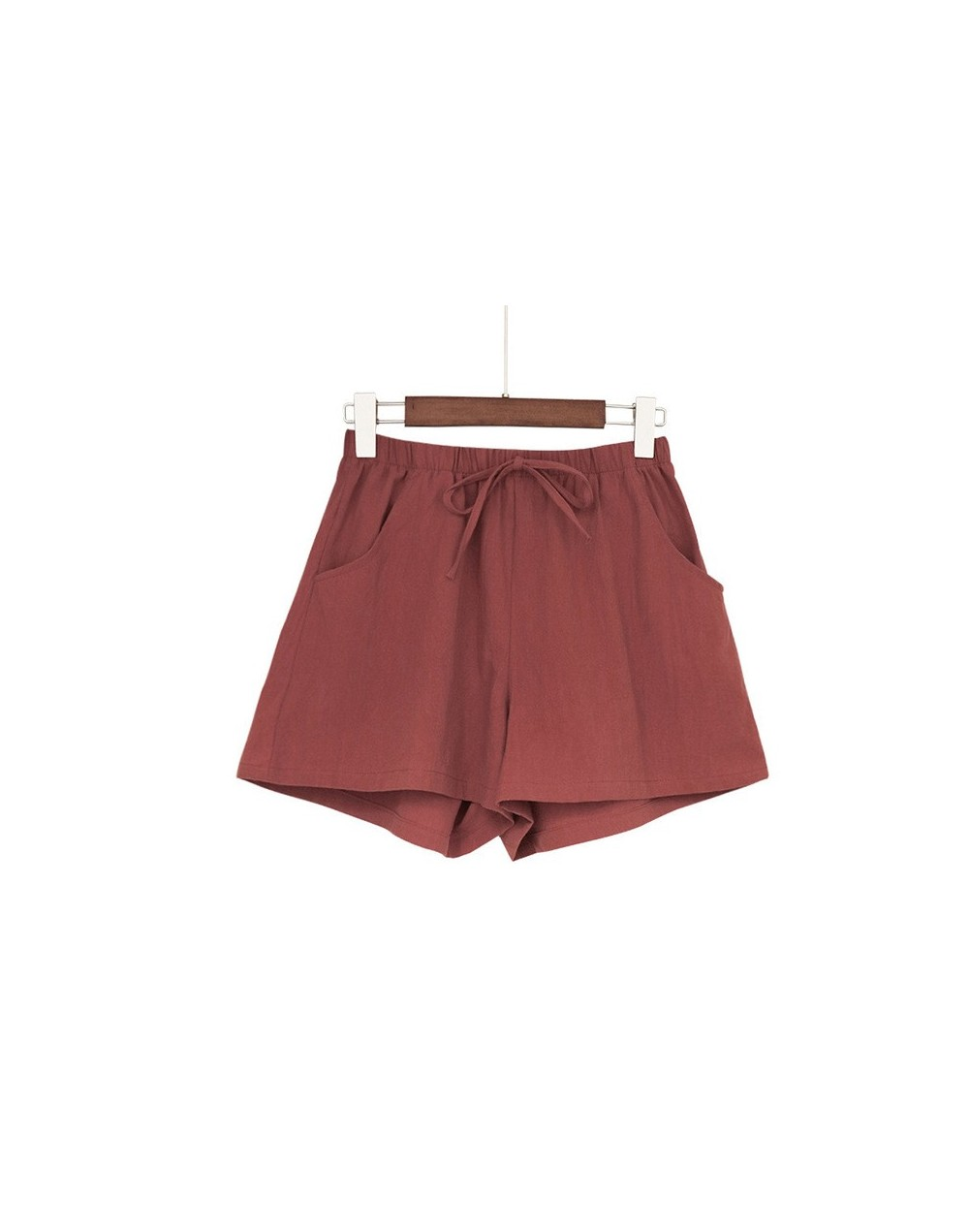 Droppshiping Women High Waist Loose Solid Color Shorts Casual for Summer Sport Running Beach J55 - Red - 5J111182536817-8