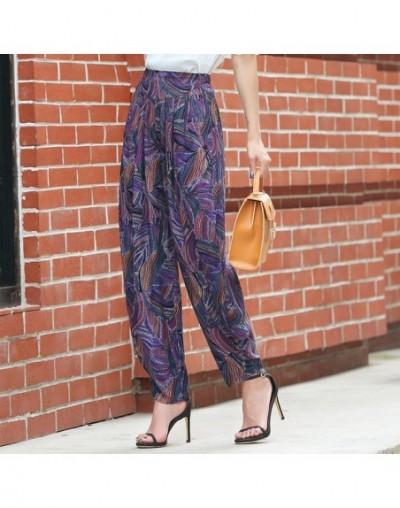 Women Summer Pants 2019 Women Korean Vintage Striped Print High Waist Pants Overiszed Loose Plaid Pants Elegant Summer Trous...