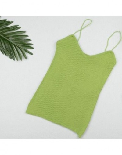 Casual Solid Color Summer Sleeveless Sexy V-neck Women Ladies Knitting Slim Camisole Sling Shirts Tops Tanks Vest ZFS0732 - ...