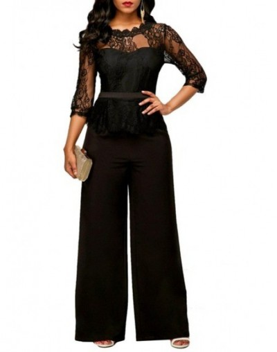 Lace Jumpsuits for women 2018 Autumn Sexy High Waist Palazzo 3/4 Sleeve One Piece Peplum Rompers with Long Wide Leg Pant - b...