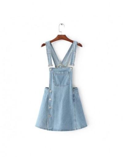 2018 harajuku punk kawaii vintage retro style washed one piece denim jumper blue overalls jeans femme culottes - Sky Blue -...