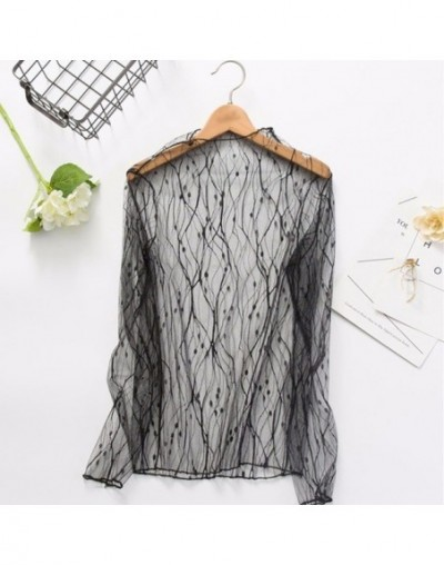 Mesh Lace Sexy T Shirt Womens Stand Collar Hollow Out Basic Transparent Pullover T Shirts Tops 2019 Spring Fashion - shuzhi ...