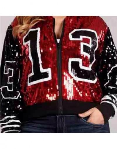 Greek Fashion lady streetwear coat 13 sequins zip up long sleeve sporty bat sleeved Sorority jackets - Black - 4M4119833150-1