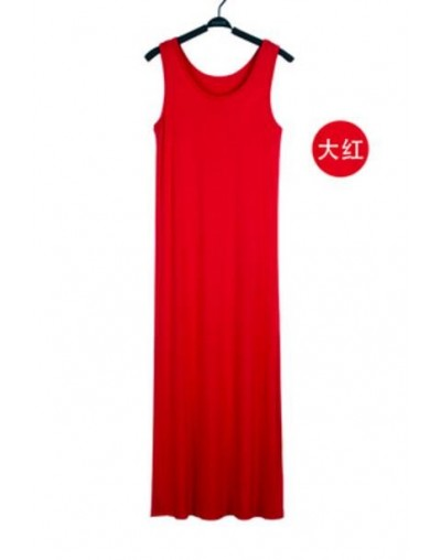 16 Colors Women Summer Dress Tank Ankle Length Long Maxi Dress Ladies Sleeveless Celebrity Party Casual Dresses - Red - 4E36...